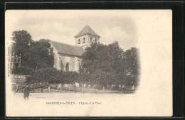 CPA Neauphle-le-Vieux, L´Eglise Et La Place - France