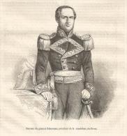GRAVURE De 1851... Portrait Du Général ECHENIQUE, Président De La République Du Pérou - Prints & Engravings