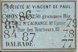 Carton Monnaie De Nécessité Du 31 Toulouse & Région Sté St Vincent De Paul Bon 250 Gr Riz Chez Lagrange épicier Dalbade - Monetary / Of Necessity