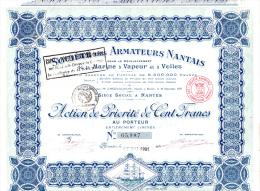 ACTION DE PRIORITE -SOCIETE DES ARMATEURS NANTAIS DE LA MARINE A VAPEUR ET A VOILES -1921 - Navigation