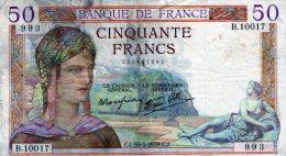 50fr Ceres 30/03/1939 - 50 F 1934-1940 ''Cérès''
