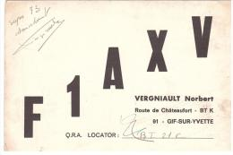 CARTE RADIO - QSL - CARTE RADIO QSL - FRANCE - GIF SUR YVETTE - 91 - 1970. - Radio-amateur