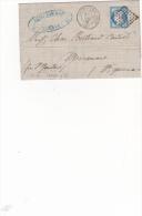 Lettre Exceptionelle 1873 Avec Cachet Rare Gare De Paulhan  Et Tars.c Au Dos - Marcophilie (Lettres)