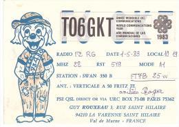 CARTE RADIO - QSL - CARTE RADIO QSL - FRANCE - LA VARENNE SAINT HILAIRE  - 94 - 1983. - Radio Amateur