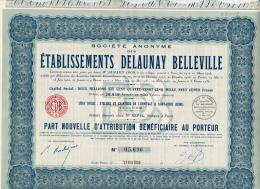 PART NOUVELLE D'ATTRIBUTION -ETABLISSEMENTS DELAUNAY BELLEVILLE -RHONE  -1939 - Automobile