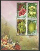 Fruits De Thaïlande:Litchis,Sapotil Le,jacque,coco.   . Un Bloc-Feuillet Neuf  ** - Thaïlande