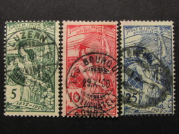 "SUIZA-Svizzera-Switzerland -1900- ""UPU"" Cpl. 3 Val. US° (descrizione) - Oblitérés"