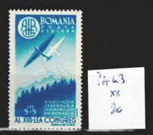 Roumanie PA 43 ** Côte 20 € - Poste Aérienne