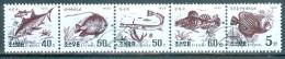 KOREA Mi-Nr. 3765 - 3769 Fünferstreifen Fische Gestempelt - Poissons
