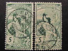 "SUIZA-Svizzera-Switzerland -1900- ""UPU"" 2 Val.  Impresión Gruesa Y Fina US° (descrizione) - Oblitérés"