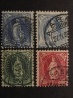 """SUIZA-Svizzera-Switzerland -1905-06- """"Helvetia De Pie"""" 4 Val. US° (descrizione) - Oblitérés"""