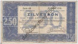 LOT N° A43  *PAYS BAS*2.5 GULDEN* ZILVERBON*01.OCTOBRE.1938 *SERIE AB* - [2] 1815-… : Royaume Des Pays-Bas