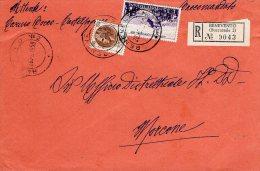 1959 STORIA POSTALE RACCOMANDATA  GUERRA D'INDIPENDENZA LIRE 35+SIRACUSANA 100 LIRE MORCONE(BENEVENTO)--R258 - 1946-60: Storia Postale