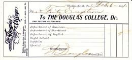 Douglas College, McKeesport PA Pennsylvania, Tuition Receipt 1901 Document - Diploma & School Reports