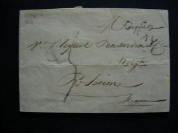 LETTRE DE 69 GRAY VERS RHEIMS  EN 1824 - Marcofilia (sobres)
