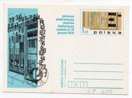 Entier N° 655 Sur CP - Le Premier Système D´échange De Téléphone électronique E-10 Poznan 1976 - Stamped Stationery
