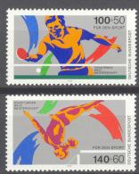 BL3-157 GERMANY 1989 MI 1408-1409 SPORT, TISCHTENNIS, TABLETAENNIS, TURNEN, GYMNASTICS. MNH, POSTFRIS, NEUF**. - Tafeltennis