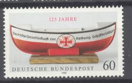 BL3-176 GERMANY 1990 MI 1465 125th ANNI RETTUNGSBRIGADE, SAUVETAGE EN MER, RESCUE BRIGADE. MNH, POSTFRIS, NEUF**. - Transportmiddelen