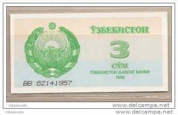 Uzbekistan - Banconota Non Circolata Da 3 Sum - 1992 - Uzbekistan