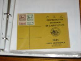 Carte Syndicales  C G A Confederation Generale De L Agriculture 1945 1946 4947 Labroquere 31 - Vieux Papiers