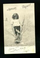 Jolie Carte Fantaisie-enfant Avec Lapin-joyeuses Pâques-happy Easter-rabbit Child-kaninchen Kind-pionnière - Ostern