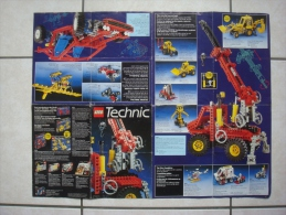 Brochure (1989) LEGO TECHNIC 107178/107278 (42 Cm Sur 54 Cm Déplié), Hydravion, Buggy, Pelleteuse, Hélicoptère, Grue... - Lego Technic