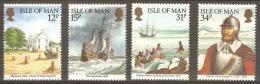 ISLE OF MAN - MNH ** 1986 Ameripex - Sailing Ships, Explorers. Scott 308-11 - Isle Of Man