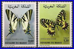 MOROCCO 1981 BUTTERFLIES SC# 497-98 VF MNH  INSECTS - Butterflies