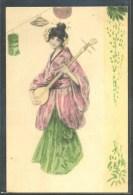 LT084 ART NOUVEAU FEMME JAPONAISE GEISHA LAMPES MUSIQUE Belle LITHO - Autres Illustrateurs