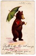 Bear With A Umbrella - Sunday By Wall - Bears