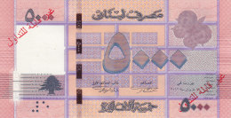 Lebanon,issue 2013 - 5.000 LL. Bankn. UNC SPECIMEN,overprinted Not Valid,without Serial Number,2 Scans RARE Only 100 Exi - Lebanon