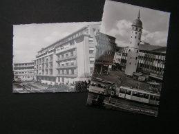 == Darmstadt , 2 AK  Ca. 1960  Krankenhaus Und Strassenbahn - Darmstadt