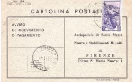 1952 £ 20 ITALIA LAVORO SU AVVISO ARCISPEDALE SANTA MARIA NUOVA FIRENZE - 6. 1946-.. Republic