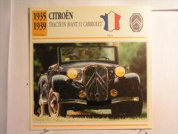 Lot De 4 Fiches Illustrée Voiture Françaises - Citroen Et Renault - Voir Description - Cars