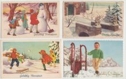 8 OUDE ANSICHTEN (1951 - 1963) - ´Gelukkig Nieuwjaar´ Met Postzegel - Nederland/Holland - Nieuwjaar