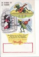 "buvard ""la cigale et la fourmi"" sign� Dagobert : matelas ""Matfa""(contes ,fable de la Fontaine)"