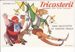 Buvard Tricostéril : Pansement Pour Petites Blessures Signé Wallace Et Draeger :Don Quichotte Et Sancho Pança - Blotters