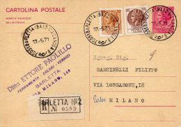1971 Italy Italie Italia Intero Raccomandata Sir £40+100+30 BARLETTA Entier Stationery Registered - 6. 1946-.. Repubblica