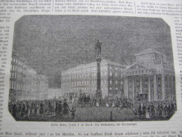 Italia -TRIESTE - Kaiser Franz Joseph I. -Triest - Beleuchtung Des Börsenplatzes - 1850 Gravure Engraving -ILZ1850-60.58 - Estampes & Gravures