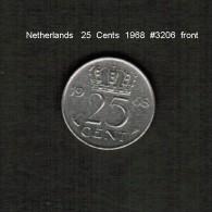 NETHERLANDS    25  CENTS  1968  (KM # 183) - [ 3] 1815-… : Kingdom Of The Netherlands