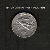ITALY    20  CENTESIMI  1921 R  (KM # 44) - 1861-1946 : Kingdom