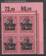 Belgien,7,Eck-Viererblock,postfrisch,gep.Hey BPP (3640) - Besetzungen 1914-18