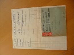 Facture + Lettre à En Tête  F. Bauzerand.Camionage .Transport. Epicerie. Aux 4 Saisons.Saint Chély D'Apcher.Lozère 1940 - Transports
