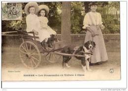 LES PROMENADES EN VOITURE A CHIEN DE BRIARE.TRES BEAU PLAN !,COULEUR !! REF 15790 - Briare
