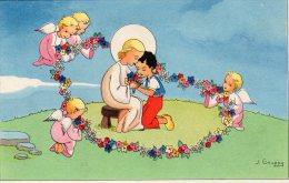 Illustrée Signée J. GOUPPY - Anges Entourant D'une Couronne De Fleurs Deux Enfants Enlacés - Angels