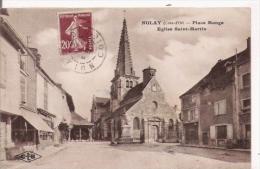NOLAY (COTE D'OR)  PLACE MONGE EGLISE ST MARTIN - Autres Communes