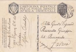 ASMARA  (Eritrea ) /   FAVARA (AG)  - Card _ Cartolina Postale In Franchigia _  Viaggiata 15.06.1936 - Marcophilia