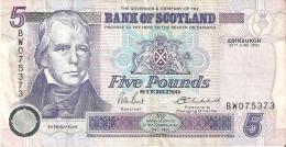 BILETE DE ESCOCIA DE 5 POUND DEL AÑO 2002  (BANKNOTE) - [ 3] Escocia