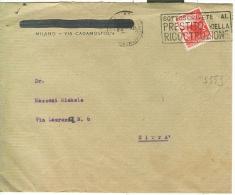 STORIA POSTALE, DEMOCRATICA £. 3, S 553, ISOLATO IN TARIFFA DISTRETTO LETTERA 1° PORTO, 1947, MILANO / MILANO, - 1946-60: Storia Postale