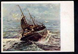 L651 Imbarcazione Dipinta Con La Bocca Da Moleveld - Serie Cart. Dipinte Con La Bocca O Col Piede N. 3319 - Altri